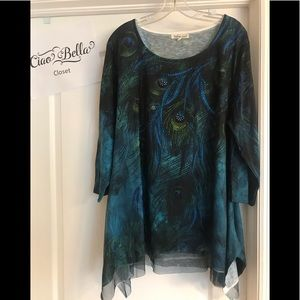 Plus Size Peacock Top - Size 2XL